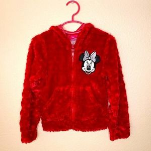 Disney Red Fluffy Minnie Mouse Jacket Size  5